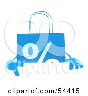 3d Blue Percent Shopping Bag Pointing To And Standing Behind A Blank Sign by Julos