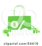 3d Green Percent Shopping Bag Pointing To And Standing Behind A Blank Sign by Julos