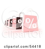 Row Of 3d Pink And Brown Percent Shopping Bags Version 5 by Julos