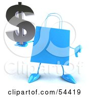 Royalty Free RF Clipart Illustration Of A Blue 3d Shopping Bag With Arms And Legs Holding A Dollar Symbol Pose 4