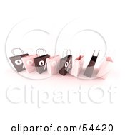 Royalty Free RF Clipart Illustration Of A Row Of 3d Pink And Brown Percent Shopping Bags Version 6