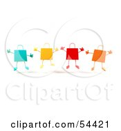 Royalty Free RF Clipart Illustration Of A 3d Group Of Colorful Shopping Bags Jumping Version 1 by Julos