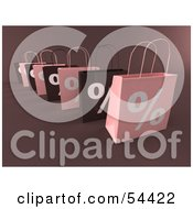 Royalty Free RF Clipart Illustration Of A Row Of 3d Pink And Brown Percent Shopping Bags Version 1