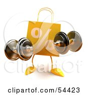 3d Yellow Percent Shopping Bag Holding Weights by Julos