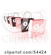 Row Of 3d Pink And Brown Percent Shopping Bags Version 4 by Julos