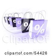 Row Of 3d Purple Percent Shopping Bags by Julos