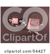 Royalty Free RF Clipart Illustration Of A Row Of 3d Pink And Brown Percent Shopping Bags Walking Forward
