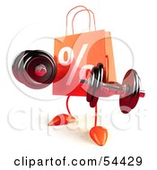 3d Orange Percent Shopping Bag Lifting Weights by Julos