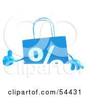 3d Blue Shopping Bag Giving The Thumbs Up And Standing Behind A Blank Sign by Julos