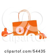 3d Orange Shopping Bag Giving The Thumbs Up And Standing Behind A Blank Sign by Julos