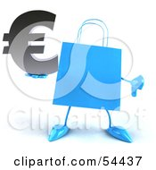Royalty Free RF Clipart Illustration Of A Blue 3d Shopping Bag With Arms And Legs Holding A Euro Symbol Pose 4