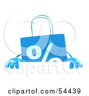 3d Blue Shopping Bag Standing Behind And Holding Up A Blank Sign by Julos