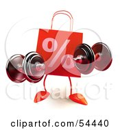 3d Red Percent Shopping Bag Lifting Weights by Julos