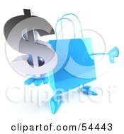 Royalty Free RF Clipart Illustration Of A Blue 3d Shopping Bag With Arms And Legs Holding A Dollar Symbol Pose 1