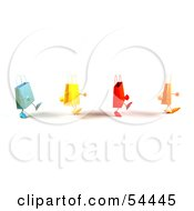 3d Line Of Waddling Colorful Shopping Bags Version 2 by Julos