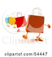 Royalty Free RF Clipart Illustration Of A 3d Line Of Colorful Shopping Bags Waddling Forward Version 1 by Julos