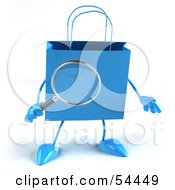 Royalty Free RF Clipart Illustration Of A 3d Blue Shopping Bag Holding A Magnifying Glass
