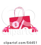 3d Pink Shopping Bag Standing Behind And Holding Up A Blank Sign by Julos