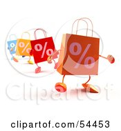 3d Percent Shopping Bags Walking Forward Version 3 by Julos