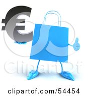 Royalty Free RF Clipart Illustration Of A Blue 3d Shopping Bag With Arms And Legs Holding A Euro Symbol Pose 3