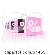 Row Of 3d Pink And Black Percent Shopping Bags by Julos