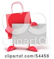 3d Red Shopping Bag Pointing At And Holding A Blank Business Card by Julos