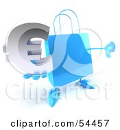 Royalty Free RF Clipart Illustration Of A Blue 3d Shopping Bag With Arms And Legs Holding A Euro Symbol Pose 1