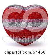 Royalty Free RF Clipart Illustration Of A 3d Fabric Striped Heart