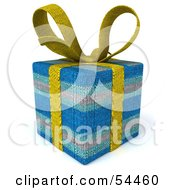 Royalty Free RF Clipart Illustration Of A 3d Fabric Present Wrapped In A Bow