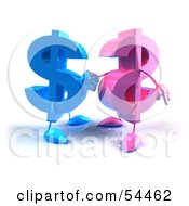 Royalty Free RF Clipart Illustration Of Two Pink And Blue 3d Dollar Symbols Shaking Hands