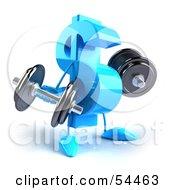 Royalty Free RF Clipart Illustration Of A 3d Blue Dollar Symbol Lifting Dumbbells