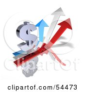 Royalty Free RF Clipart Illustration Of A 3d Dollar Symbol On Three Increase Arrows Version 1