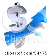 Royalty Free RF Clipart Illustration Of A 3d Silver Dollar Symbol On Top Of A Blue Arrow Version 1
