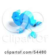 Royalty Free RF Clipart Illustration Of A 3d Blue Dollar Symbol With Arms And Legs Laying On The Floor Version 1