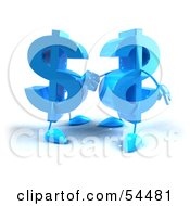 Royalty Free RF Clipart Illustration Of Two Blue 3d Dollar Symbols Shaking Hands by Julos