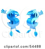 Royalty Free RF Clipart Illustration Of Two Blue Jumping 3d Dollar Symbols With Arms And Legs