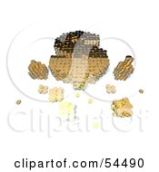 Royalty Free RF Clipart Illustration Of A 3d Dollar Symbol Formed Of Golden Coins Version 6