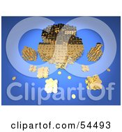Royalty Free RF Clipart Illustration Of A 3d Dollar Symbol Formed Of Golden Coins Version 2