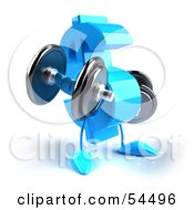 Royalty Free RF Clipart Illustration Of A 3d Blue Dollar Symbol Lifting Weights