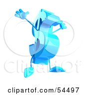 Royalty Free RF Clipart Illustration Of A Leaping 3d Blue Dollar Symbol With Arms And Legs