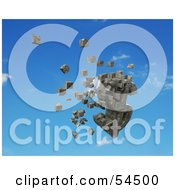 Royalty Free RF Clipart Illustration Of A 3d Dollar Symbol Made Of Stone Blocks Particles Floating Version 6