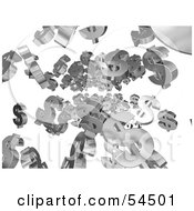Royalty Free RF Clipart Illustration Of Chrome 3d Dollar Symbols Raining Down Version 1