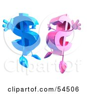 Royalty Free RF Clipart Illustration Of Two 3d Pink And Blue Dollar Symbols Jumping