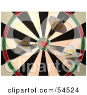 Royalty Free RF Clipart Illustration Of A Dartboard With Darts Version 1
