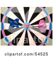 Royalty Free RF Clipart Illustration Of A Dartboard With Darts Version 2