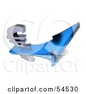 Royalty Free RF Clipart Illustration Of A 3d Euro Symbol Riding On A Blue Arrow Version 3