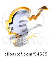 Royalty Free RF Clipart Illustration Of A 3d Chrome Euro Symbol With An Arrow Forming Around It Version 2