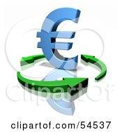 Royalty Free RF Clipart Illustration Of A 3d Blue Euro Symbol Being Circled By Arrows Version 3