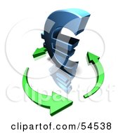 Royalty Free RF Clipart Illustration Of A 3d Blue Euro Symbol Being Circled By Arrows Version 1