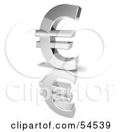 Royalty Free RF Clipart Illustration Of A 3d Chrome Euro Symbol On A Reflective White Surface Version 1